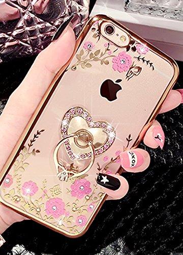 iPhone 6S Hülle,iPhone 6 Hülle,iPhone 6 Case,ikasus® TPU Silikon Hülle Schutz Handy Hülle Case Tasche Etui Bumper Crystal Case Hülle für Apple iPhone 6S / 6 (4,7 Zoll) Durchsichtig mit Christmas Snowf Golden:Rosa Blumen Schmetterling