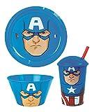 Lotmart – Lot d'assiettes en plastique, de bols et de gobelets avec pailles pour enfants sous licence motif super héros, dessin animé, stylo Lotmart en cadeau 1 BUNDLE Captain America