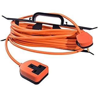 15m 13 AMP Plug to 1 Gang Rubberised Socket Orange Outdoor Garden Extension Lead with H-Frame Cable Carrier