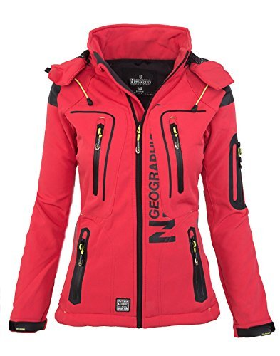 Geographical Norway Damen Softshell Funktions Outdoor Regen Jacke Sport [GeNo-20-Corail-Gr.L]