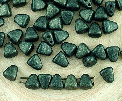 60pcs Metallic Suede Matte Dark Green Olive-Feder-Bit-Matubo Tschechische Glas 2 Zwei-Loch-Dreieck-Trapez Perlen 5mm x 6mm