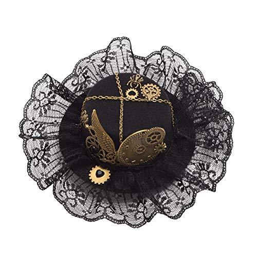 BLESSUME gotisch Frau Steampunk Gang Flügel Uhr Schmetterling Hut Spitze Haar Clip Kopfbedeckung (E)