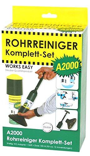 purclean Rohrreiniger A2000 Set - macht Pümpel, Pömpel u. Rohrreinigungsspirale überflüssig!, 125 ml, WC-Adapter, Griff