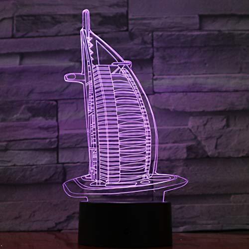 3d Lampe,3D Led Nachtlicht Lampe Multicolor Geburtstag Festival Geschenk Berühmte Gebäude Dekorative Leuchten Schreibtisch 3D Lampe Schlafzimmer