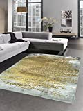 Carpetia Moderner Teppich Antik Vintage Ornamente grau senfgelb Gold Größe 80x150 cm