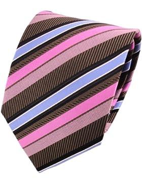 TigerTie Designer Krawatte dunkelbraun schwarz rosa blau silber gestreift - Binder Tie