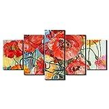 Pigup 5 Verkleidungs-große Blumen-Ölgemälde Wand-Kunst-Malerei-Foto-Plakat Ölbilder Zeichnung...