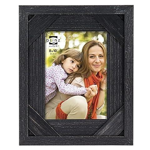 Prinz Barnes Antique Distressed Barnwood Frame, 8 by 10-Inch, Black