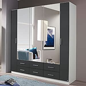 kleiderschrank grau wei 5 t ren b 181 cm grau metallic schrank spiegelschrank. Black Bedroom Furniture Sets. Home Design Ideas