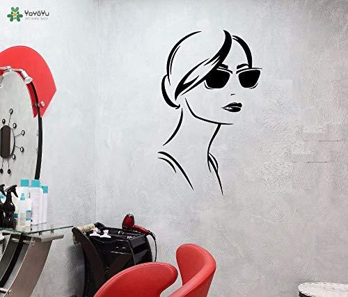 zhuziji Wandtattoo Girl Fashion Sonnenbrille Muster Wandaufkleber Vinyl Beauty Salon Abnehmbare Inneneinrichtung Design Mura 42x67cm