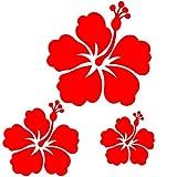 Toptshirt Sticker Autocollant 3 Fleurs d'hibiscus Rouge