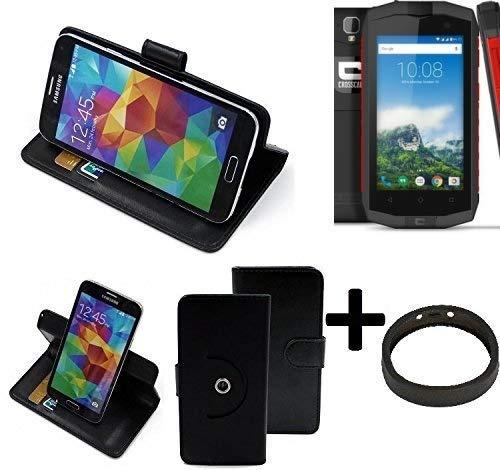 K-S-Trade® Case Schutz Hülle Für -Crosscall Trekker-M1 Core- + Bumper Handyhülle Flipcase Smartphone Cover Handy Schutz Tasche Walletcase Schwarz (1x)
