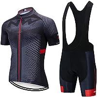 Conjunto Ropa Ciclismo Hombre, Traje MTB Maillot Bicicleta Mangas Cortas+5D Gel Culotte Pantalones Cortos Verano Equipacion Ciclismo (XL, ANW-BK3)