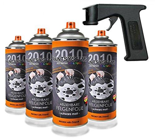 Paintsystems 8 x400ml, Felgenfolie schwarz matt, inkl. Handgriff Spraymaster