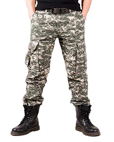 DaiHan Pantaloni Cargo Militari,Pantaloni Cargo mimetici, da Lavoro, Multi Tasche, Cotone, da Uomo Stile B 33