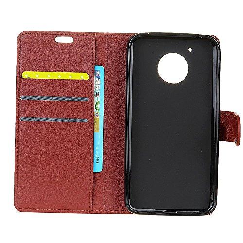 Klassische Litchi Texture Premium Leder Tasche Bookstyle Folio Stand Case mit Geldbörse Beutel Funktion Kartensteckplätze für Motorola Moto E4 American Version ( Color : Rose ) Brown