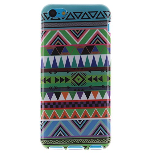 Pour Apple iPhone 5C pouce Cas, MCHSHOP Ultra-mince TPU Silicone Cover souple Phone Housse Coque de protection pour iPhone 5C - 1 gratuit Touch Pen (belle bleue) Vert aztèque tribal