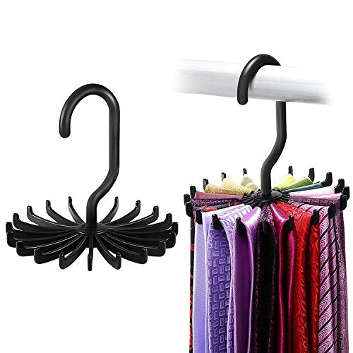 Tie Hanger (ipow 2 Stück Krawattenhalter, 360°drehbare Krawattenbügel für 20 Krawatten mit längerem Haken Kleiderschrank Organizer - Krawatten Schlips Gürtel Schal Ketten Halter (Schwarz 12cm))