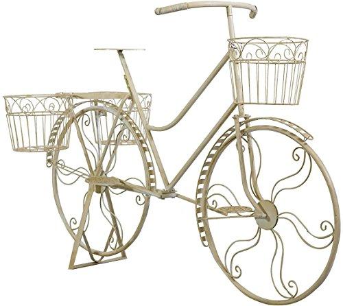 Bicicletta portafiori in ferro battuto finitura bianca anticata l150xpr70xh104 cm