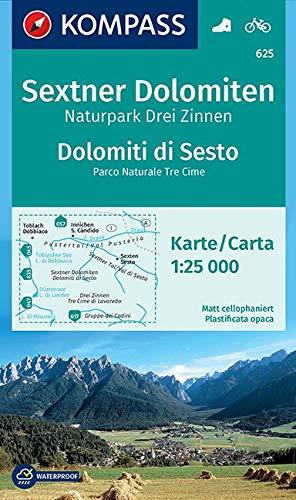 KOMPASS Wanderkarte Sextner Dolomiten, Naturpark Drei Zinnen, Dolomiti di Sesto, Parco Naturale Tre Cime: Wanderkarte mit Radtouren. GPS-genau. ... 1:25 000 (KOMPASS-Wanderkarten, Band 625)