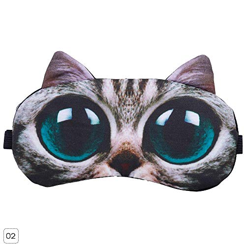Teabelle 3D Divertido Animal patrón Dormir máscara de Ojos Suave Negro Sombra de Ojos Vendaje para Viaje Descanso 1