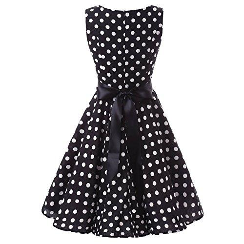 YAZACO Damen 1950er Retro Polka Dot Kleid Ohne Arm Faltenrock Cocktailkleid Abendkleider Partykleid Schwarz 02