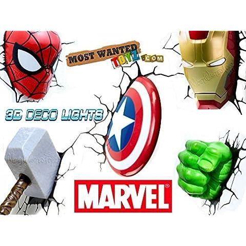 Marvel Avengers 3D Deco Wall Night Lights - Thor, Hulk, Iron Man, Spider-Man y Capitán América (paquete de