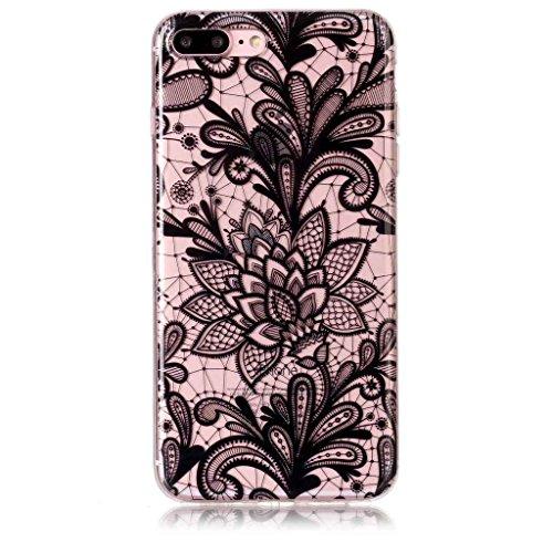Per iPhone 8 Plus / iPhone 7 Plus Cover , YIGA nero fiore Cristallo Trasparente Silicone Morbido TPU Case Shell Caso Protezione Custodia per Apple iPhone 8 Plus / iPhone 7 Plus (5,5 pollici) BF21