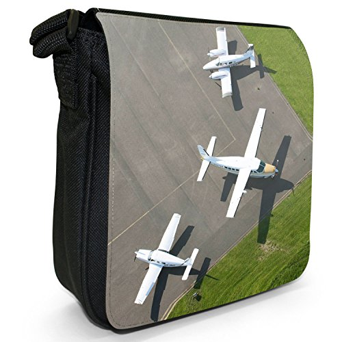 Velivoli con motivo aeroplani di Planes, colore: nero, Borsa a tracolla in tela, taglia: S Aerial View Different Aircraft