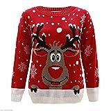 Kids Girls Boys Christmas Red Nose Jumper Unisex Reindeer Print Jumper