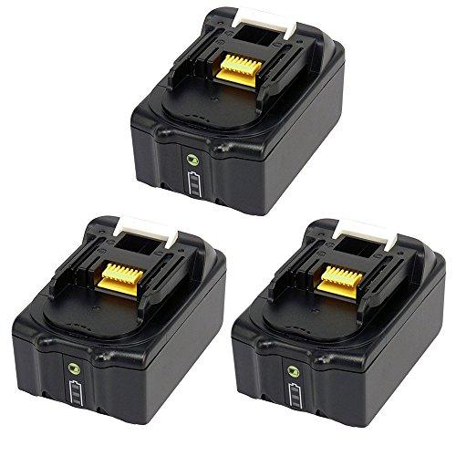 Preisvergleich Produktbild 3 Stück 18V 4.0Ah Ersatz Werkzeugakkus für Makita Rasentrimmer DUR181Z Schlagschrauber BTW251 DTW281Z DTW450Z DTW450Y1J BTW450 DTW285RTJ Staubsauger DCL182Z Winkelschleifer DGA504Z DGA506Z DGA452Z mit Ladeanzeige