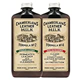 Chamberlain's Leather Milk - Straight Cleaner Nr. 2 & Auto Refreshener Nr. 4 - Set aus Reiniger & Conditioner für Autoleder - Naturbasis/ungiftig - Hergestellt in den USA - 2 Auftragepads - 0.35 L