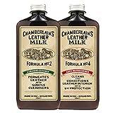 Chamberlain's Leather Milk - Kit detergente + emolliente per interni auto in pelle - Straight Cleaner No. 2 + Auto Refreshener No. 4 - naturale e atossico Made in USA. 2 applicatori inclusi nella confezione! - 0.35 L