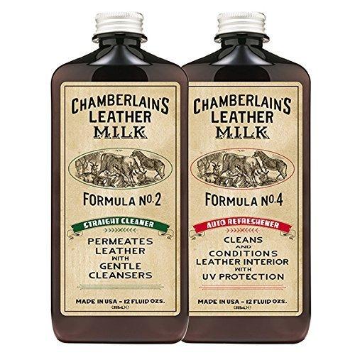 Preisvergleich Produktbild Chamberlain's Leather Milk - Straight Cleaner Nr. 2 & Auto Refreshener Nr. 4 - Set aus Reiniger & Conditioner für Autoleder - Naturbasis/ungiftig - Hergestellt in den USA - 2 Auftragepads - 0.35 L