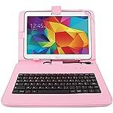 """Etui rose + clavier intégré AZERTY pour Samsung Galaxy Tab 4 (SM-T530/T533), Tab A 9,7"""" (T550) et Tab A 10.1 (2016) T580 tablettes 10.1"""" - stylet tactile BONUS + Garantie DURAGADGET de 2 ans"""