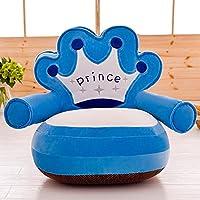 MeMoreCool imbottito morbido corona blu scuro bambini peluche morbido peluche Cartoon divano fodera removibile, Sedia, (Giorno Chair Pad)