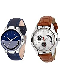 The Shopoholic Combo Latest Fashionable Blue And White Dial Analog Watch For Boys -Combo Watch Casual