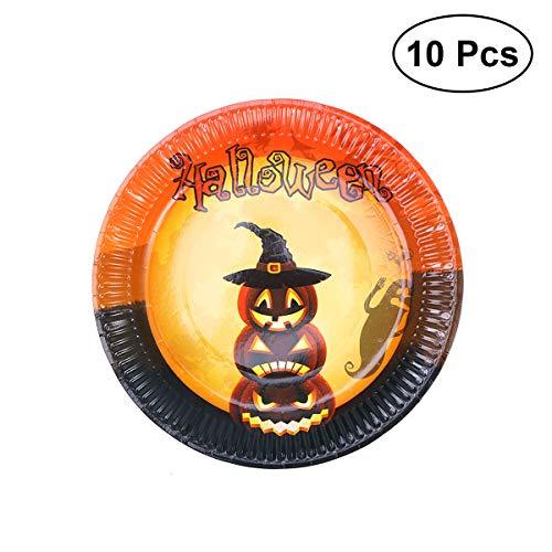 BESTOYARD 10pcs Halloween Party Teller Halloween Kürbis Geist Einweg Pappteller
