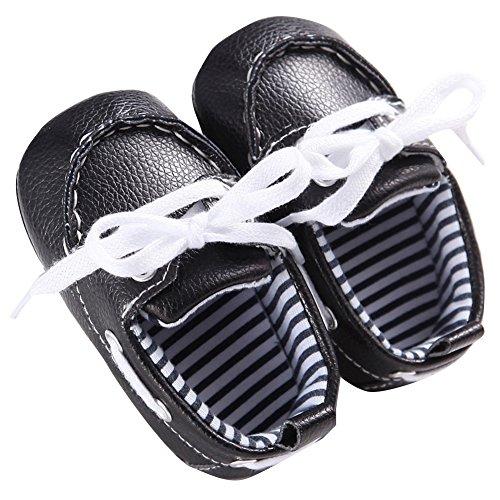 WAYLONGPLUS Baby-Kind-Jungen Prewalker Leder Anti-Rutsch Babyschuhe Schwarz