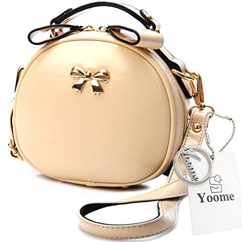Yoome Elegant Passende Nieten Bowknot Clutch Geldbörse mit Schulterriemen Kleine Taschen für Frauen - Schwarz Beige