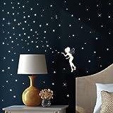 """Wandtattoo Loft Wandsticker """"Fluoreszierende Elfe"""" Fee mit Leuchtsternen und Leuchtpunkten aus nachtleuchtender selbstklebender Folie (leuchtend im Dunkeln) für einen tollen Sternenhimmel in Kinderzimmer oder Schlafzimmer"""