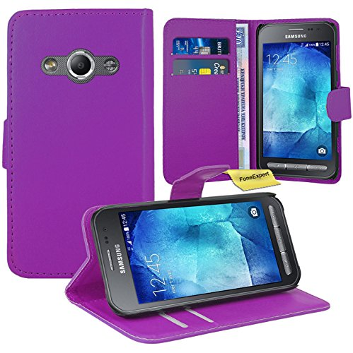 Preisvergleich Produktbild Samsung Galaxy Xcover 3 Handy Tasche, FoneExpert® Wallet Case Flip Cover Hüllen Etui Ledertasche Lederhülle Premium Schutzhülle für Samsung Galaxy Xcover 3 (Lila)