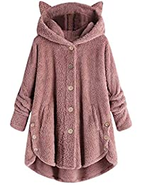 Cappotto Invernali da Donna, Longra Donne Pullover in Pile Maglione a Collo Alto Oversized Cappotto Invernale Giacca Invernale Poncho Mantella Trench Cardigans Outwear