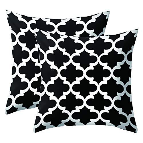 JOTOM Housse de Coussin Treillis Géométrique Taie d'oreiller pour Canapé Maison Salon Chambre Décoration D'intérieur, 45x45cm, Ensemble de 2 pièces(Motif Noir et Blanc 5)