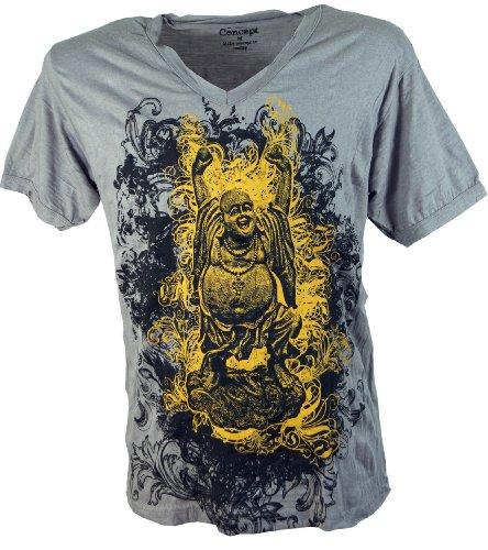 Guru-Shop Pure T Shirt Lucky Buddha, Herren, Baumwolle, Sure T-Shirts Alternative Bekleidung Grau