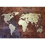 decomonkey Fototapete Weltkarte Landkarte Kontinente 350xx256 cm XL Tapete Fototapeten Vlies Tapeten Vliestapete Wandtapete moderne Wandbild Wand Schlafzimmer Wohnzimmer Welt Karte