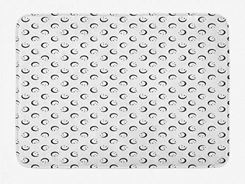 Crescent White Matte (YnimioHOB Half Moon Badematte, Crescent Stars Arrangement Repetitive Simplistic Pattern auf normalem Hintergrund, Plüsch-Badezimmer-Dekor-Matte mit Rutschfester Unterlage, Dimgray White)
