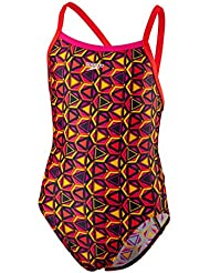 Speedo Girls 'patrón Pop Allover Thinstrap Crossback Bañador, niña, color Electric Pink/Lava Red/Mango, tamaño talla 30