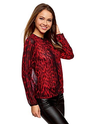 oodji Ultra Mujer Blusa de Tejido Fluido con Acabado en Contraste, Rojo, ES 42/L
