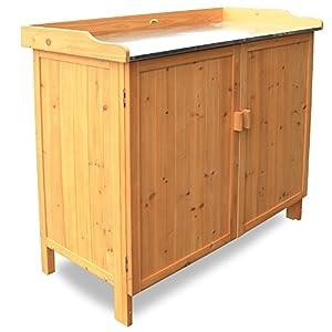 Habau 3106 Gartentisch mit Unterschrank, 98 x 48 x 95 cm